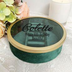 90th Green Velvet Round Jewellery Box