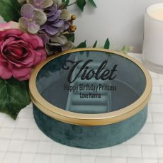 Birthday Jade Velvet Round Jewellery Box