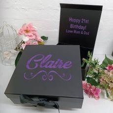 21st Birthday Keepsake Hamper Gift Box Black