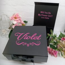 Flower Girl Proposal Keepsake Gift Box Black