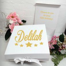 50th Birthday Keepsake Hamper Gift Box White