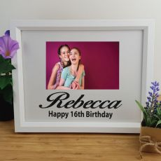 16th Birthday Personalised Photo Frame 4x6 Glitter White