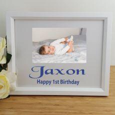 1st Birthday Personalised Photo Frame 4x6 Glitter White