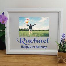 21st Birthday Personalised Photo Frame 4x6 Glitter White
