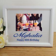 40th Birthday Personalised Photo Frame 4x6 Glitter White