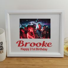 Birthday Personalised Photo Frame 4x6 Glitter White