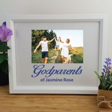 Godparent Personalised Photo Frame 4x6 Glitter White