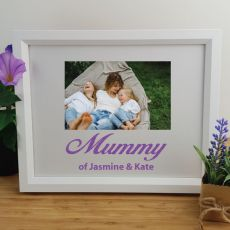 Mum Personalised Photo Frame 4x6 Glitter White