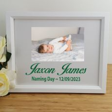 Naming Day Personalised Photo Frame 4x6 Glitter White