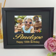 100th Birthday Personalised Photo Frame 4x6 Glitter - Black