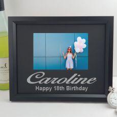 18th Birthday Personalised Photo Frame 4x6 Glitter Black