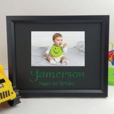 1st Birthday Personalised Photo Frame 4x6 Glitter Black