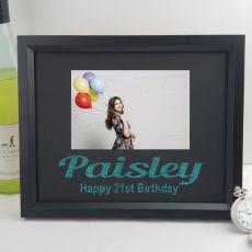 21st Birthday Personalised Photo Frame 4x6 Glitter Black