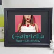 40th Birthday Personalised Photo Frame 4x6 Glitter Black