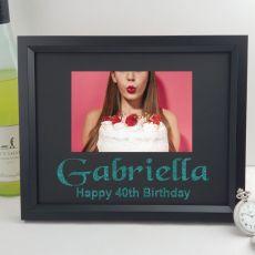 40th Birthday Personalised Photo Frame 4x6 Glitter Black