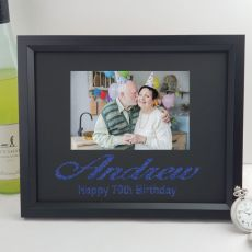 70th Birthday Personalised Photo Frame 4x6 Glitter- Black