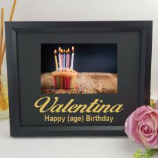 Birthday Personalised Frame 4x6 Glitter Black