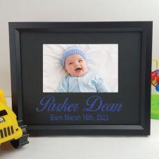 Baby Personalised Photo Frame 4x6 Glitter - Black