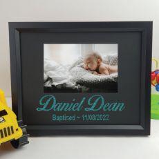 Baptism Personalised Photo Frame 4x6 Glitter Black