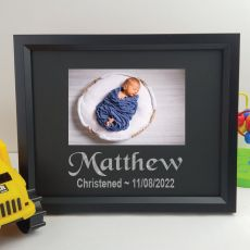 Christening Personalised Photo Frame 4x6 Glitter Black