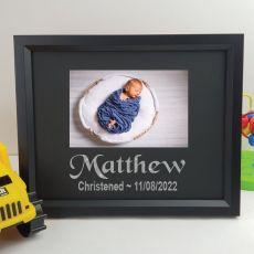 Christening Personalised Photo Frame 4x6 Glitter Black