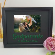 Godparent Personalised Photo Frame 4x6 Glitter - Black