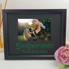 Godparent Personalised Photo Frame 4x6 Glitter - Black