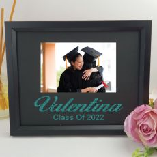 Graduation Personalised Photo Frame 4x6 Glitter Black