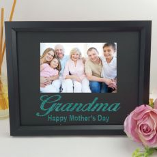 Personalised Grandma Glitter Photo Frame - Black