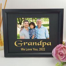 Grandpa Personalised Photo Frame 4x6 Glitter Black