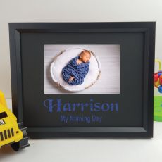 Naming Day Personalised Photo Frame 4x6 Glitter Black