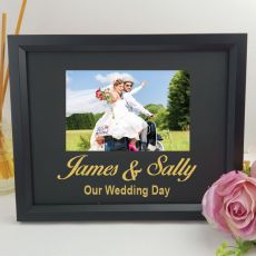 Wedding Personalised Photo Frame 4x6 Glitter Black