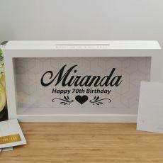 70th Birthday Personalised Message Box Guest Book Keepsake