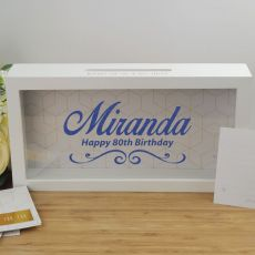 80th Birthday Personalised Message Box Guest Book Keepsake