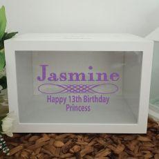 13th Birthday Wishing Well Card Box Glitter Print