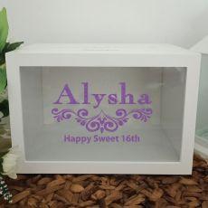 16th Birthday Wishing Well Card Box Glitter Print