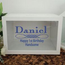 1st Birthday Wishing Well Card Box Glitter Print