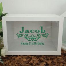 21st Birthday Wishing Well Card Box Glitter Print