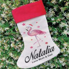 Personalised Christmas Stocking - Flamingo