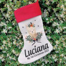 Personalised Christmas Stocking - Floral Llama