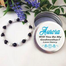 Stone  Bracelet with Personalised Godmother Tin