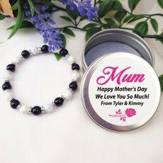 Stone Bracelet  with Personalised Mum Tin