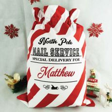 Personalised Santa Candy Cane Christmas Sack 60cm