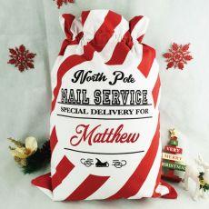 Personalised Santa Candy Cane Christmas Sack 70cm