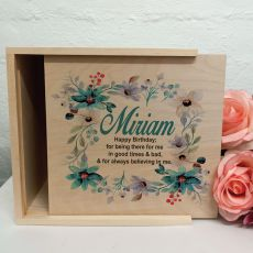 Birthday Personalised Wooden Gift Box - Blue Floral