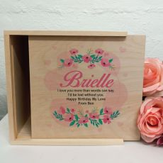 Birthday Personalised Wooden Gift Box - Rosy Hearts