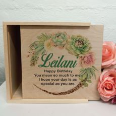 Birthday Personalised Wooden Gift Box - Succulent
