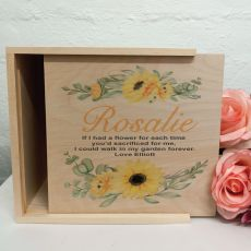 Personalised Wooden Gift Box - Sunflower