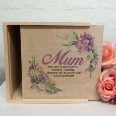 Mum Personalised Wooden Gift Box - Vintage Floral