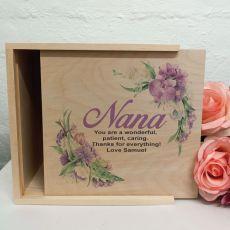 Nan Personalised Wooden Gift Box - Vintage Floral